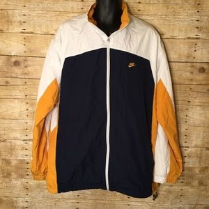 Nike Gold Navy Blue Color Block Windbreaker